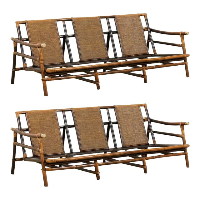 Rare Restored Sofa by John Wisner for Ficks Reed- Four Available For Sale