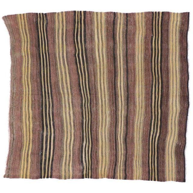 Vintage Turkish Striped Kilim Rug, Square Rug - 4′5 X 4′8 For Sale - Image 4 of 5