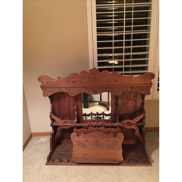 Antique Pump Organ Top With Mirror - Image 2 of 4