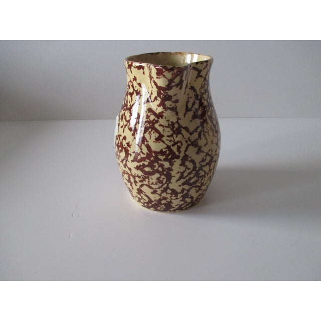 Yellow and Brown Spongeware Pitcher With a Handle For Sale - Image 4 of 6