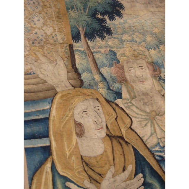Blue Antique Flemish Tapestry of Soldier Back From a Battle For Sale - Image 8 of 12