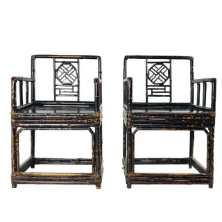 Pair of Bamboo Rattan Chinoiserie Armchairs by Brighton Pavillion For Sale
