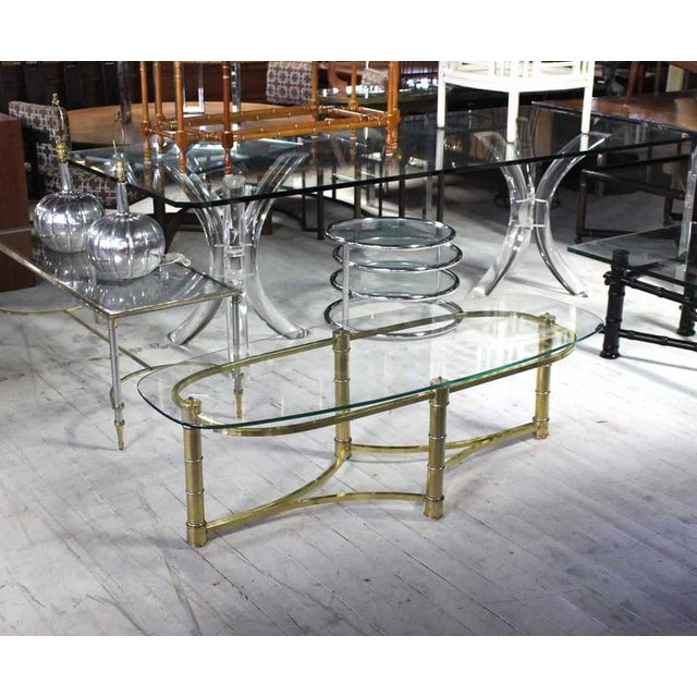 Bronze Brass and Glass Oval Coffee Table For Sale - Image 7 of 7