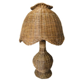 Vintage Wicker Table Lamp For Sale