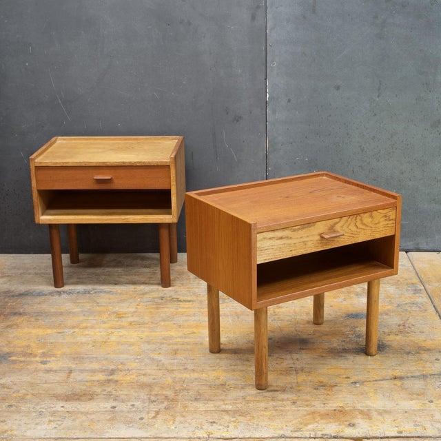 Oak Hans Wegner Bedside Nightstand Pair Vintage Mid Century Modern Ry Mobler Teak Oak For Sale - Image 7 of 10
