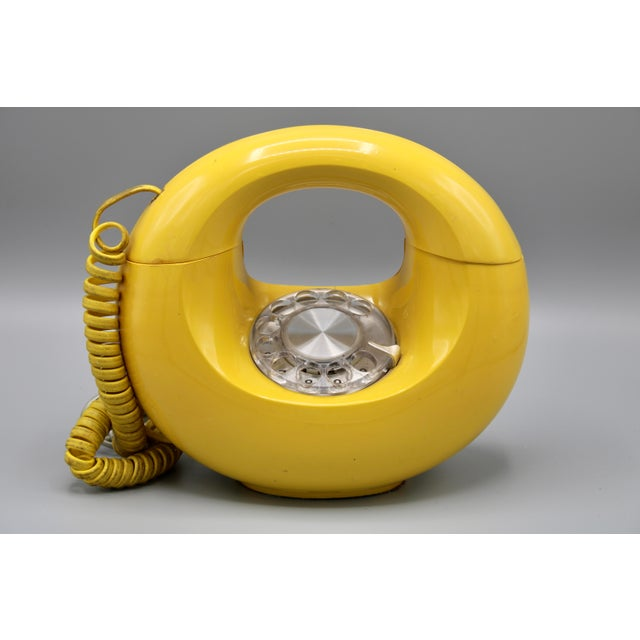 1970s Art Deco Lemon Yellow Rotary Telephone For Sale - Image 11 of 13