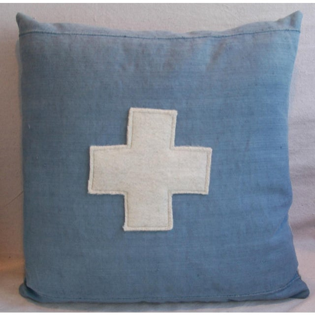 "Boho Chic 22"" Large Custom Powder Blue Appliqué Cross Feather/Down Pillow For Sale - Image 3 of 5"
