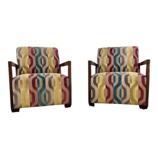 1990s Contemporary Dark Walnut & Upholstered Armchairs - a Pair For Sale