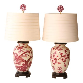 Kintsugi-Style Floral Table Lamps, A Pair