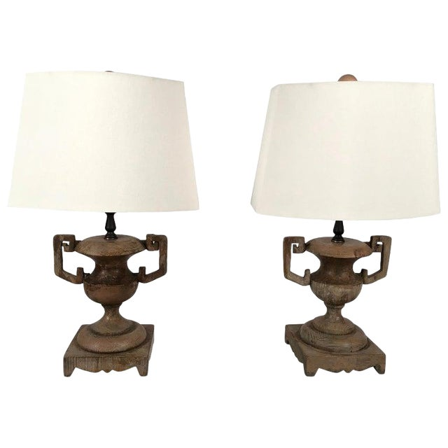 French Neoclassical Carved Wood Vase Lamps - a Pair For Sale