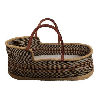 Wicker Leather Handle Baby Bassinet Basket