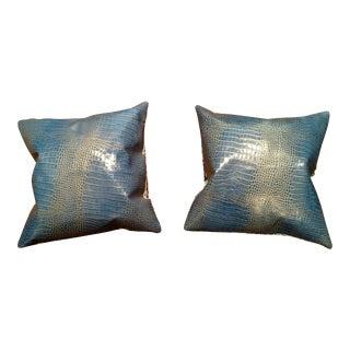 Gambrell Renard Blue & Gold Pillows - A Pair