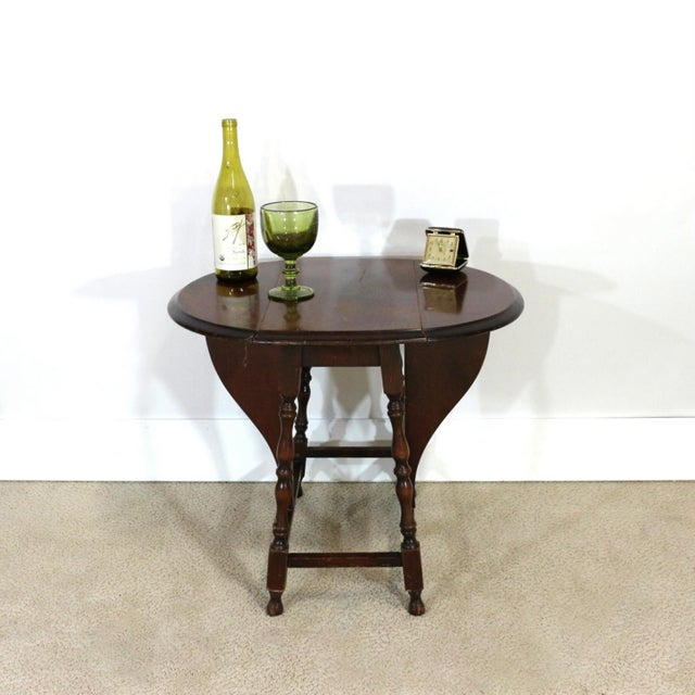 English Traditional 1910s Folding Side Table, Edwardian Era For Sale - Image 3 of 6