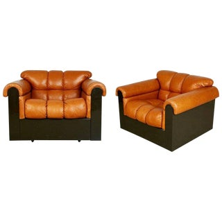 Tufted Leather Lounge Chairs by Davanzati for I4 Mariani Pace, Pair