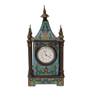 Tabletop Cloisonné European Building Shape Old Shanghai Winding Clock For Sale