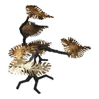 Silas Seandel Style Brutalist Bronze Leaves Coffee Table Base