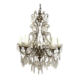 Italian Gilt Iron and Crystal Beaded Chandelier
