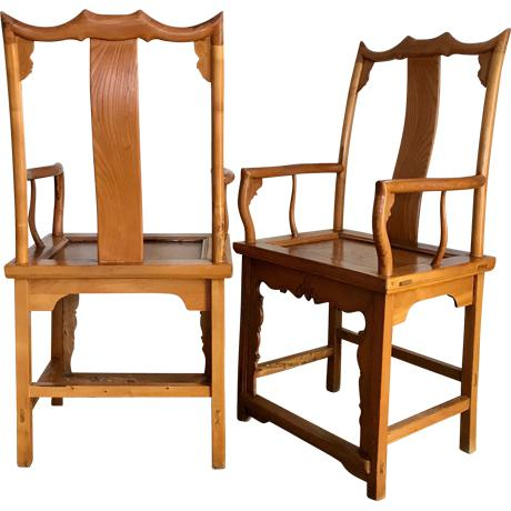 Antique pair of Chinese 'Bat Wing' Officials Arm Chairs from Southern China, dating from late 1800's/ early 1900's. These...