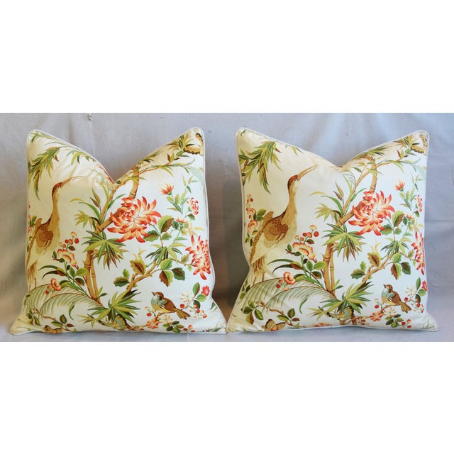 """Chinoiserie Floral Birds & Crane Feather/Down Pillows 24"""" Square - Pair For Sale In Los Angeles - Image 6 of 13"""