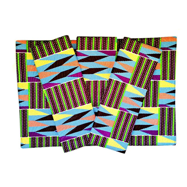African Purple Print Fabric Placemats - Set of 8 For Sale In Los Angeles - Image 6 of 6
