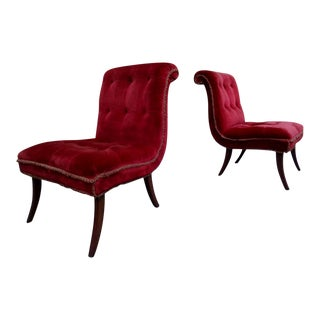 Mid Century Bold Red Velvet Slipper Chairs ~ a Pair For Sale
