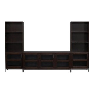 Crate & Barrel Delavan Wood and Glass Media Console + 2 Towers Set For Sale