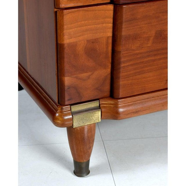 Gold Cherry Bachelors Chest by Hickory Mfg With Brass Bullet Shaped Handles For Sale - Image 8 of 10