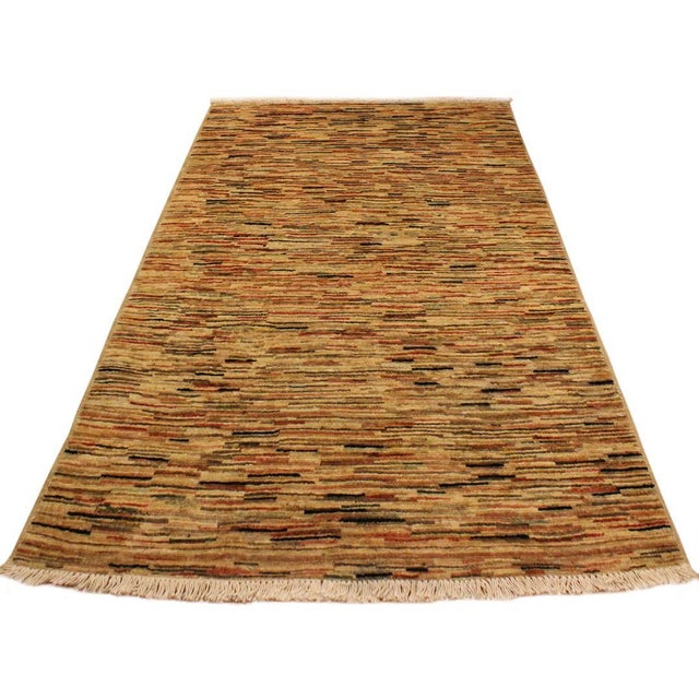 Contemporary Boho Chic Gabbeh Peshawar Tena Tan/Rust Hand-Knotted Wool Rug -3'2 X 4'10 For Sale - Image 3 of 8