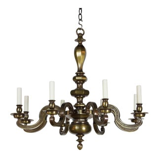 Eight Light Antique Brass Chandelier For Sale