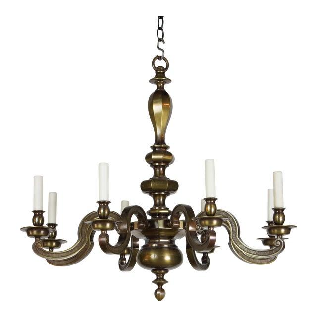 Eight Light Antique Brass Chandelier For Sale