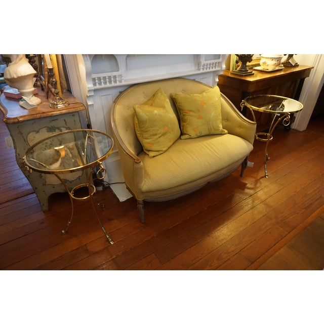 Gold Mid-Century Brass and Glass Top Gueridon Tables - a Pair For Sale - Image 8 of 9