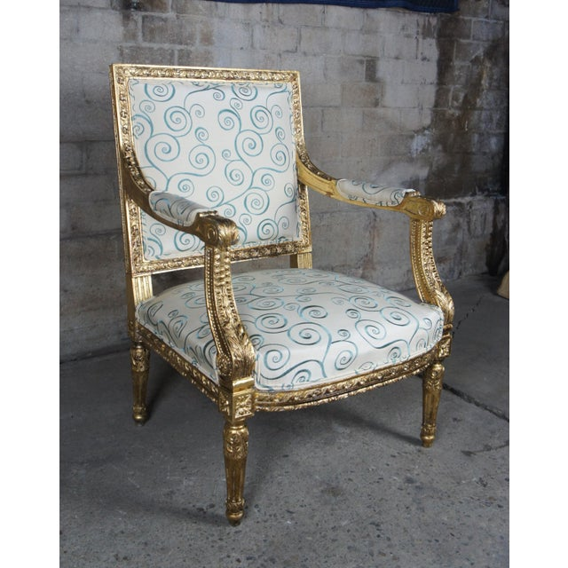 Antique 19th Century Louis XVI Fauteuil Neoclassical French Accent Arm Chairs - a Pair For Sale - Image 4 of 13