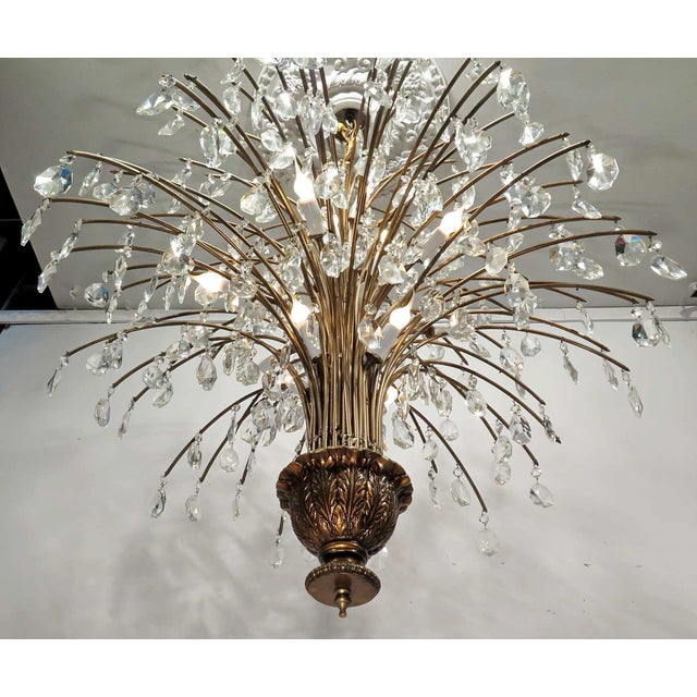 Vintage Mid Century Palm Spray Crystal Chandelier - Image 4 of 8