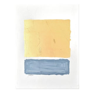 """Abstract Gilded Bars Blue Painting - 30x40"""" For Sale"""