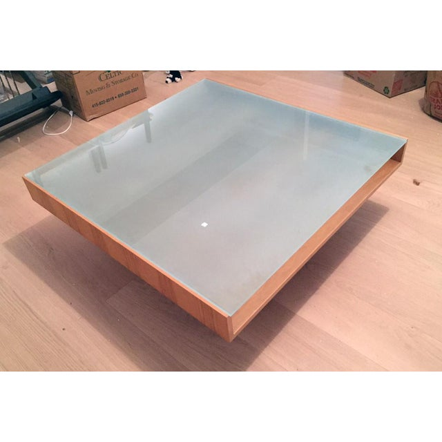 Modern Glass and Wood Coffee Table - Image 3 of 5