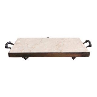 Vintage Italian Silverplate and Marble Cheese Board For Sale