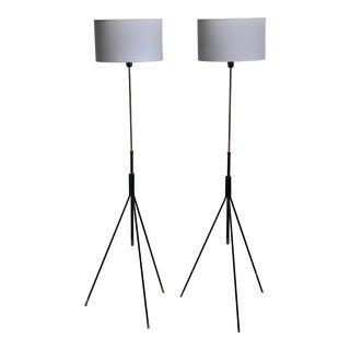 Pair of Danish Height-Adjustable Tripod Floor Lamps For Sale