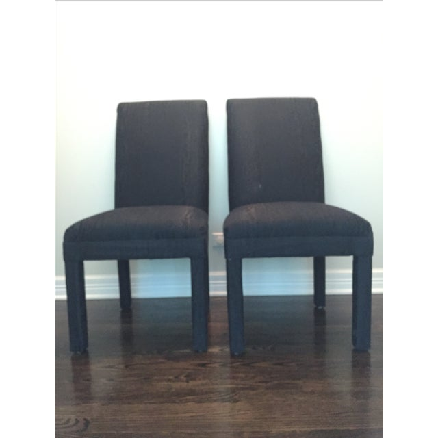 Vintage Black Upholstered Parson Chairs - A Pair - Image 2 of 7