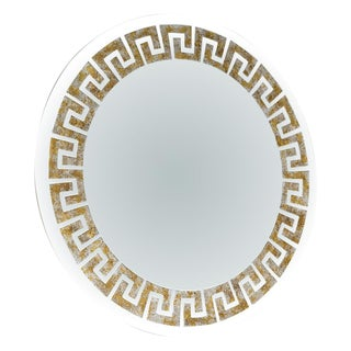 Mirror Signed by David Marshall Gilt Greek Key Reverse Painting For Sale