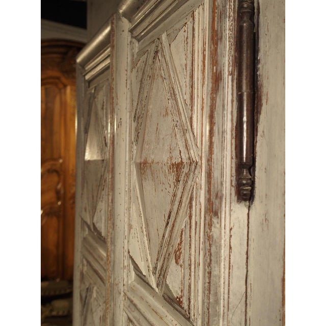 Painted 17th Century French Oak Diamond Point Armoire For Sale - Image 10 of 13