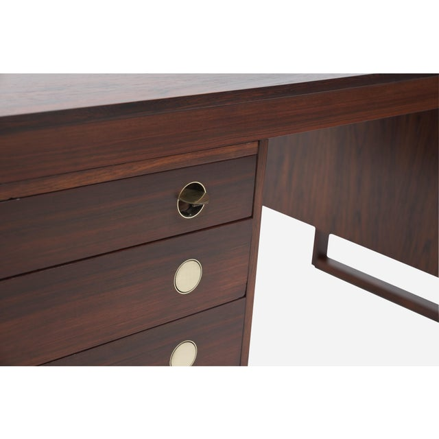 Drylund Rosewood Desk With Brass Pulls, Denmark, 1960s For Sale - Image 4 of 8
