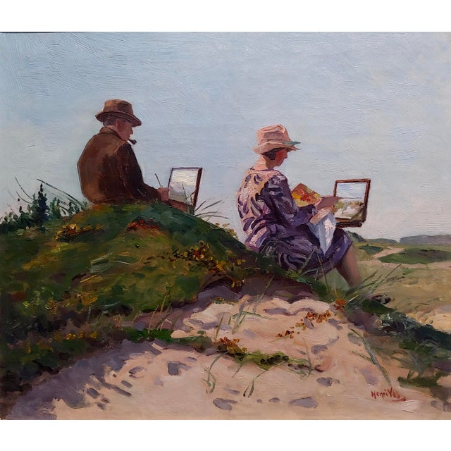 Impressionism Henri Vos -Two Artists on the Dunes -Impressionist -Oil Painting C1910s For Sale - Image 3 of 9