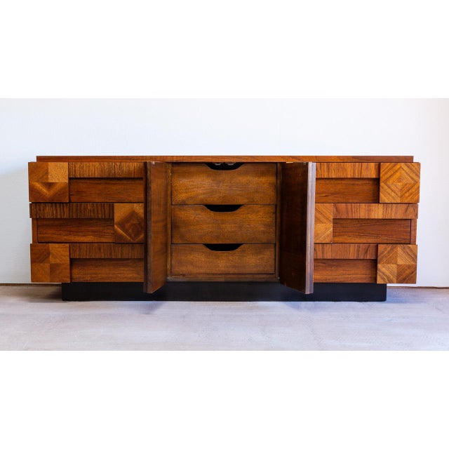 Mid-Century Modern Brutalist dresser by Lane Furniture Co. for the Mosaic collection. Features: -Gorgeous walnut wood...