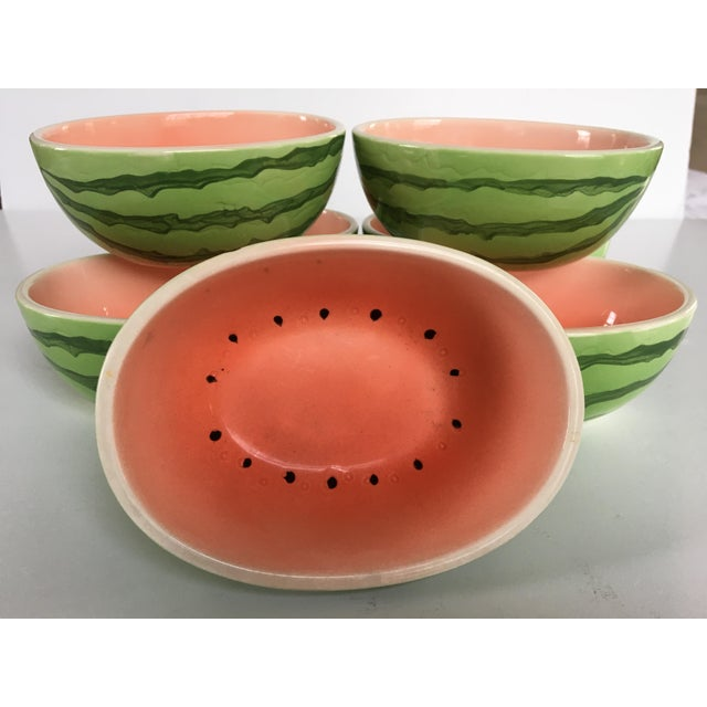 Vintage Japanese Hand Painted Watermelon Shaped Bowls - Set of 7 For Sale - Image 13 of 13