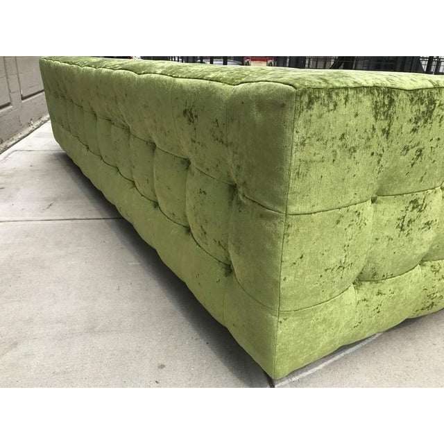 Textile Custom Tufted Green Velvet Sofa Flavor Custom Design For Sale - Image 7 of 8