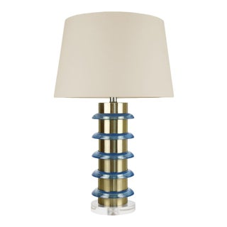 "Cameron Brass and Glass Lamp with Acrylic base with 16inch Drum Beige Linen Shade 5"", Cerulean For Sale"