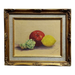 Phyllis Hedden -Fruits on the Table-1960s Still Life-Oil Painting For Sale
