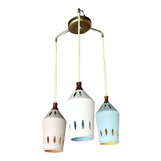 Triple Colored Pottery Ceramic Shades Pendant Light For Sale