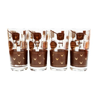 Mid-Century Highball Glass Gold & Brown - Set of 4