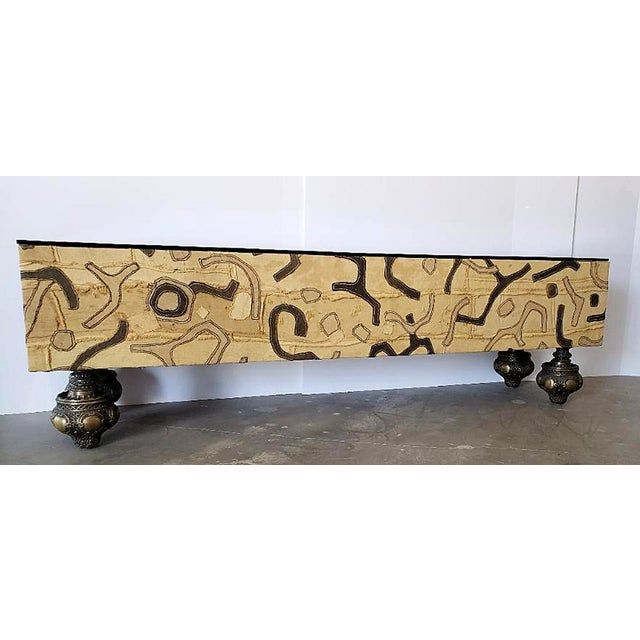 Moroccan Low Console Table With Moorish Cut Outs and Brass Accents For Sale In Palm Springs - Image 6 of 8